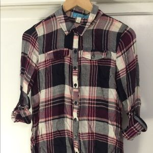 Tops - Purple/vino long plaid shirt